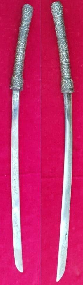 A very goodSilver coveredDha/ Dah sword, probably VIETNAMESE or THAI. Ref 2180